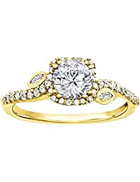Silvernshine 1.42 Carat Round & Pear Cut CZ Diamond 10k Yellow Gold Over Wedding Ring