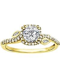Silvernshine 1.42 Carat Round & Pear Cut CZ Diamond 10k Yellow Gold Over Wedding Ring