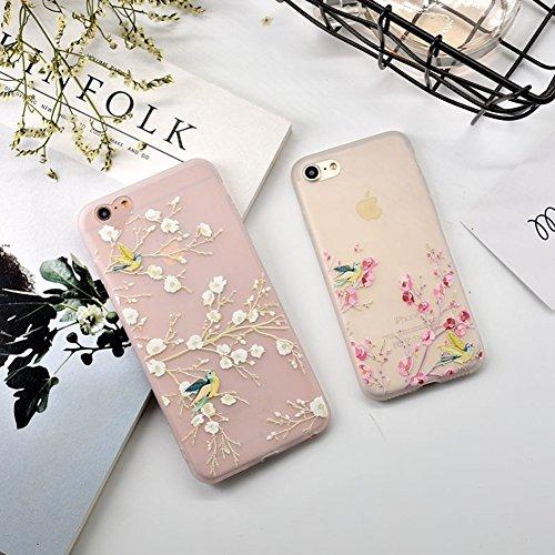 Glitter Étui Housse pour iPhone 6/6S (4.7 inch) + [Support d'Anneau], Bonice Cristal Clair Miroir Cas Case avec 360 Degrés Rotation Bague, Luxe Bling Sparkle Strass Souple Soft Gel TPU Caoutchouc Bump Fleur de pêche - Rose