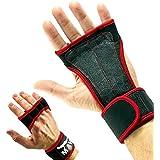 Mava™ Sports Guantes de entrenamiento con muñequera para fitness, crossfit, WOD, levantamiento de pesas, gimnasio y levantamiento de potencia, acolchado de silicona para evitar callos,se adapta a hombres y mujeres, fuerte agarre, Unisex, color rojo, tamaño large