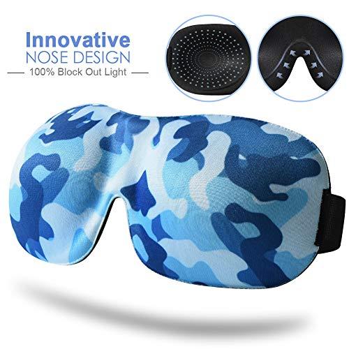 Schlafmaske für Frauen & Männer, Unimi modisches Camouflage-Design Augenmaske, blockiert Licht, bequeme & leichte 3D-Augenabdeckung, Augenbinde für Reisen, Schichtarbeit, Nickerchen (Blau)