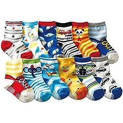 Bebé Calcetines SWEETBB 1-3 años de niño del bebé antideslizante calcetines de algodón para los muchachos (6/12 Paquete) (12 Paquete)