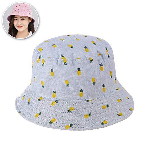 FZXHJ Ananas Basin Cap, Weiblich Sommer Outdoor-Sonnenschutz-Fischer-Hüte, Wilde Beiläufige Sonnenschutz-Hut,Blue - Wellen Flachen Rand