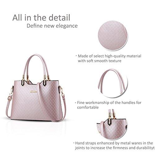 NICOLE&DORIS Elegant Damen Handtaschen Umhängetasche Damenhandtaschen Henkeltaschen Schultertaschen Crossbody PU Hell-Pink Hell-Pink