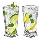 Ecooe 330ml (Volle Kapazität) Longdrinkgläser kristallgläser für Gin Tonic, Saft, Bier und Mehr, Long Drink 2er Set