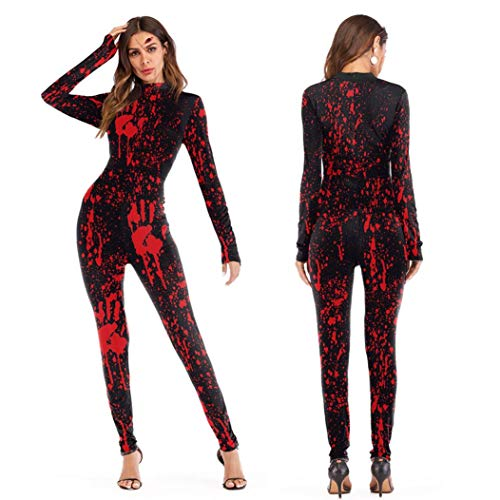 Damen Jumpsuit Scary Halloween 3D Schädel Viscera Blut Print Party Kostüm Overall (L, Rot)