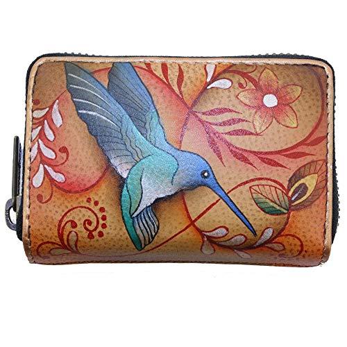 Anuschka Kreditkarten-Etui Visitenkartenetui aus echtem Leder, handbemalt, Original Artwork, (Flying Jewels Tan), Einheitsgröße -