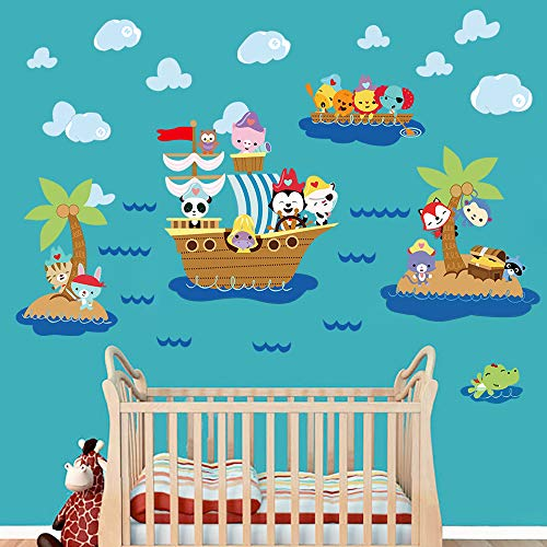 decalmile Pegatinas de Pared Animales Barco Pirata Vinilos Decorativos Infantiles Mono Elefante Adhesivos Pared Habitación Bebés Niños Guardería Baños Dormitorio Salón