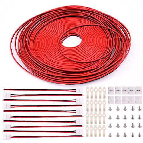 3528 2-Polig LED Strip Verbinder - 8mm LED Streifen Verbinder Set Enthält 20m LED Strip Verlängerungskabel, 10x LED Strip Verbinder, 10x Lückenloser Anschluss x2, 20x LED Streifen Befestigungsclips - 8 Mm Led