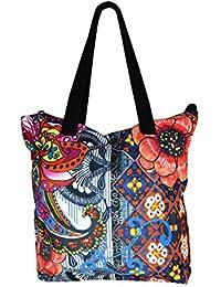 Multicolor Toile épaule sac fourre-tout avec motif floral et Rinestone patché