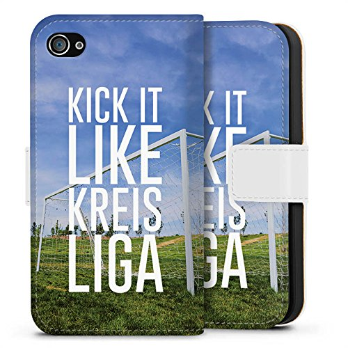Apple iPhone X Silikon Hülle Case Schutzhülle Kreisliga Fußball Tor Sideflip Tasche weiß