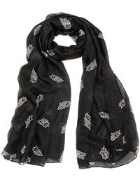 Womens New Large Black Owl Print Cotton Feel Scarf