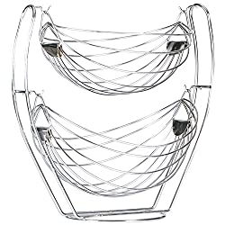 Aakar Kitchen Stainless Steel Swing Wire Stand Fruit Basket Double Bowl, 1 Piece, Silver
