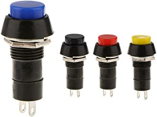 Segolike 4 Pieces Assorted Color Momentary On/Off Horn Switch for Car Boat Marine Universal