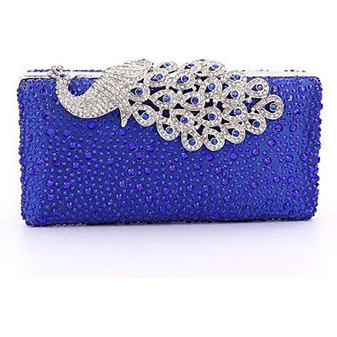 Da Wu Jia Ladies borsetta di alta qualità di lusso satinata Lady formale / evento/festa di nozze / sera Borsa/borsa/scintillanti diamanti borsa a mano/Strass/Peafowl/frizione/Bird , nero