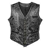Bslingerie® Herren Steampunk Gothic Faux Leather Kostüm Weste (XXL, Schwarz Weste)