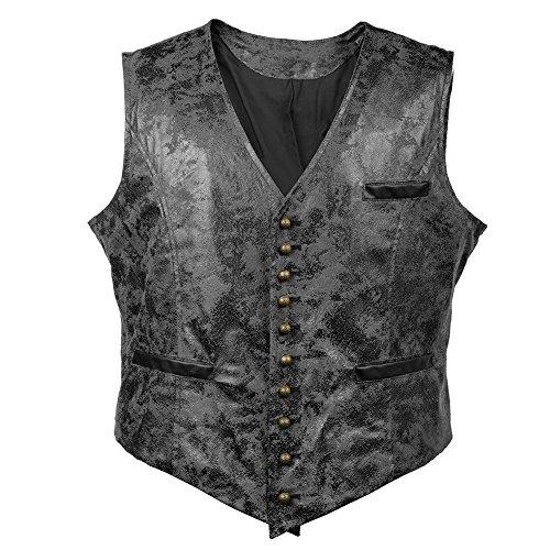 (Bslingerie Herren Steampunk Gothic Faux Leather Kostüm Weste (M, Schwarz Weste))