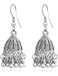 Sukkhi Wedding Jewellery Jhumki Earrings for Women (Silver) (E81170_D1)