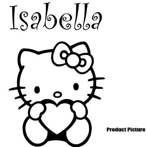 Hello Kitty, Herz mit Ihrem gewählten Namen 60cm x 40cm Farbe Wählen 18Farben auf Lager Namen, Name personalisiert, Childs Schlafzimmer, Kinder Zimmer Aufkleber, Auto Vinyl-, Windows und Wandtattoo, Wall Windows Art, Decals, Ornament Vinyl Sticker ThatVinylPlace (Hello Kitty Window Decal)