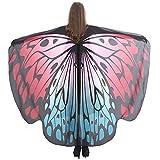 MRULIC Damen 168 * 135 cm Printed Schmetterling Flügel Cape Schal Pfau Poncho Schal Wrap Pixie Karneval Fasching Weihnachten Cosplay Kostüm Zusatz