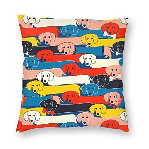 THsirtee Colored Cute Dogs Pattern Dekokissen Fall Platz Kissenbezug Kissenbezug Protektoren Für Sofa Bank Couch Autositz Bett 20
