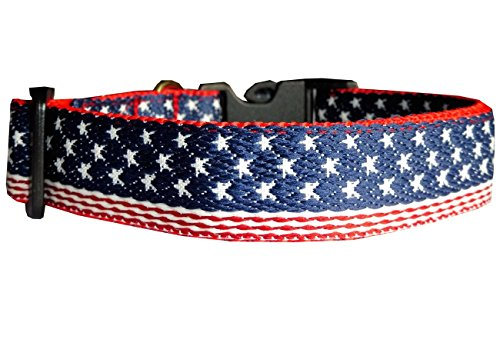 Tracht Usa (Halsband Hund USA Amerika Flagge Nylon blau rot Hundehalsband Halsung Band Klickverschluss S verstellbar 30 - 43 cm x 2,0)