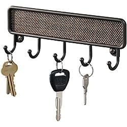mDesign portachiavi da muro – portaoggetti da parete con 5 ganci – perfetto come porta chiavi, porta collane, sciarpe ma anche strofinacci o presine – colore: bronzo
