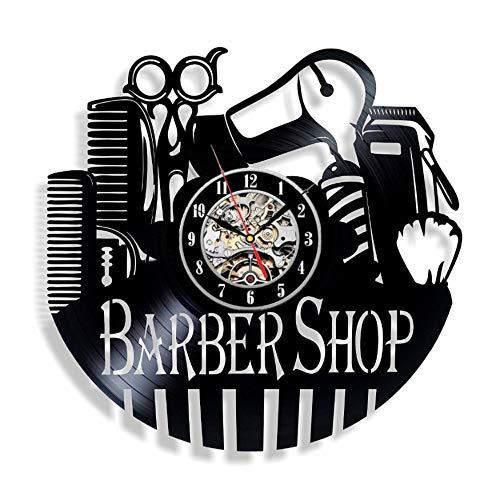 EdmendYang Peluquería Herramientas Reloj de Pared de Vinilo-Idea de Regalo para los peluqueros estilistas barberos estilistas duvar saati D