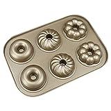 Savorliving Donut Moule 6Cavités en forme de donut anti-adhésif en acier carbone Moules Mini moule à cake Moule Doré Multipurpose Bakeware, fait 6Taille complète Donuts, 26*18cm 26*18CM 3 Shapes