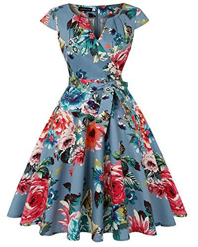 Baumwolle V-neck Wrap (MINTLIMIT Women's Retro Wrap V Neck Kappenärmel Solid A-Linie Vintage Sommer Dress(Floral Dunkelblau,Größe M))