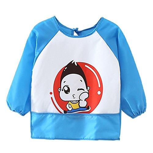 Babero infantil de manga larga, impermeable, ideal para comer y jugar azul