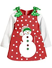 Happy Cherry-Robe de Bonhommes de Neige Noël à Manches Longues Motif à Pois en Polyester Vêtement de Bébé Petite Fille Chaud Hiver pour Voyage Fête Repas-Manches 2 Couleur Optique-90-130cm(2-9ans)
