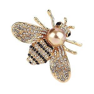 Llian Damen brosche Schöne Biene Pins Legierung und Gold-Ton Nachahmung Perlen Brosche mit Schmuckschatulle