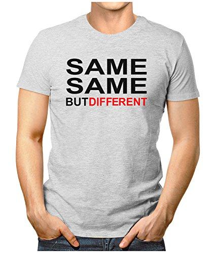 PRILANO Herren Fun T-Shirt - SAME-SAME-BUT-DIFFERENT - Small bis 5XL - NEU Grau Meliert