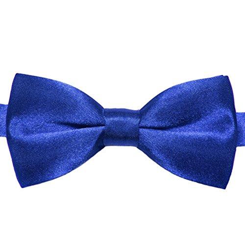 GASSANI Kinder-Fliege Marineblau Satin Seide-Optik | vor-gebundene Kinderschleife Anzugschleife | verstellbar