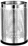 #7: Parasnath Stainless Steel Perforated Round Dustbin, 6L (7 X 11 In)(Silver)