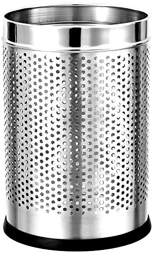 "Mofna  Stainless Steel Perforated Open Dustbin, Stainless Steel Garbage Bin 7 Litre (8""x12"")"