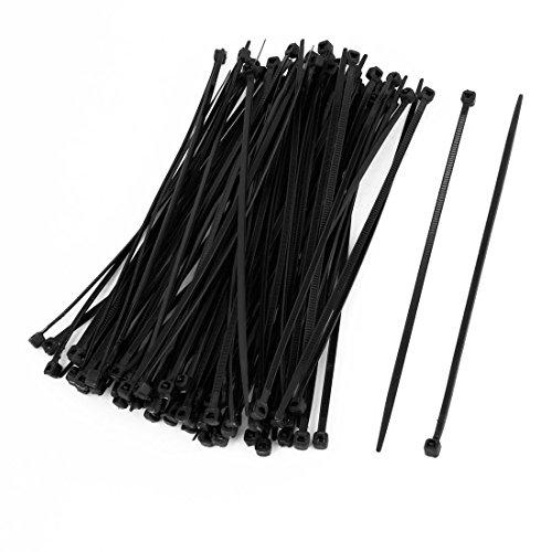 Daorier Lot de 100 Serre-Câbles de Nylon Attache-Câble Colliers de Serrage Plastique Autobloquant 3×200 mm (Noir)