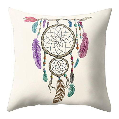 "display08Cartoon plumas Atrapasueños impresión funda de almohada cojín casa sofá decoración, 11#, 17.72"" x 17.72"""