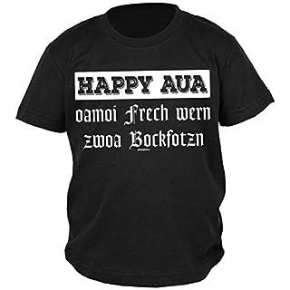 Goodman Design ® Volksfest-Shirt/Oktoberfest-Shirt/Jungen-Shirt Rubrik lustige Sprüche: Happy AUA oamoi Frech wern Zwoa Bockfotzn