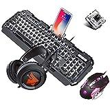 Mechanische Gaming-Tastaturmaus und -Headset, Schwarzer Schalter Weißes, hintergrundbeleuchtetes Metall-Kabel + 3200-dpi-Maus + Buntes Atmungslicht-Gaming-Headset