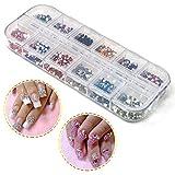 Xiton 3000pezzi Glitter Adesivi Unghie Nail Art Strass per Decorazioni Unghie arte del chiodo corredo del chiodo di punte del chiodo di colori Fette 12 Stud Glitter Nail decorazioni di arte