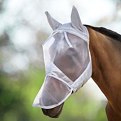 Harrison Howard CareMaster Fly Mask Full Face Moonlight Silver (S; Pony) 1