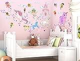 """I-love-Wandtattoo WAS-10029 Wandsticker Kinderzimmer """"Feen und Einhörner"""" Wandtattoo Wandaufkleber Sticker Aufkleber"""