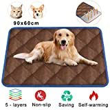 Self Heating Pet Bed, Ultra Large Pet Blanket Pet Sofa Pad, Cat Blanket Heated Sleeping Mat for Dogs with Warm Aluminum Foil, Soft Non Slip Cushion Pad for Cats & Large/Small Dogs 90 x 60 cm