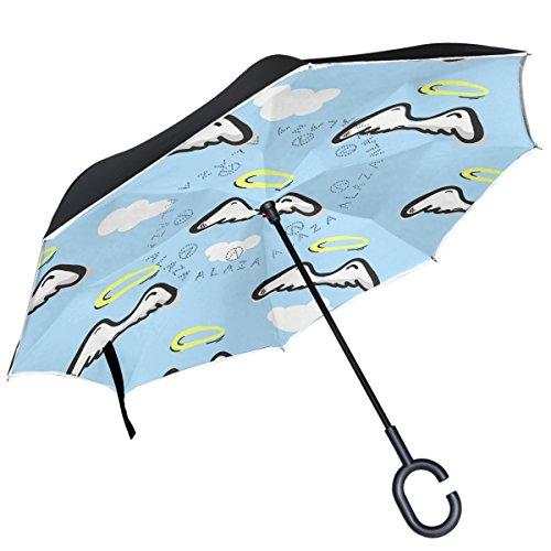 Alaza Engel Flügel Halo Cloud Blue Sky seitenverkehrt Regenschirm Double Layer winddicht Rückseite Regenschirm