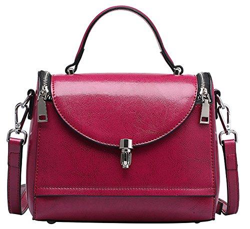 Xinmaoyuan Sacs à main pour femme Sacs à main en cuir Pack cuir Cire Huile Médecin Portable épaule Messenger Sac pour femme Purple