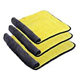 su ma Car Microfiber Cleaning Cloths Lint Free Dual Layer Drying Auto Detailing Towel for Car & Motorcycle 840gsm(Pack of 3)