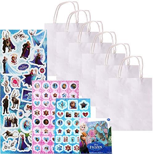 6 Stück TE-DecoArt Mitgebsel Tüten Geschenktaschen Basteln Papiertüten weiß 18x15x8cm Mädchen Bastelset 500 Frozen Die Eiskönigin Sticker Set (Frozen 6 Stück-figur-set)
