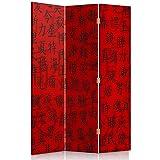 Feeby Frames. Die Gedruckten auf Canvas Leinwand Wandschirme, Dekorative Trennwand, Paravent beidseitig, 3 teilig (110x180 cm), Japanische Schrift, ROT, SCHWARZ